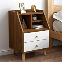 Bedroom Bedside Table Storage Cabinet Double Drawers Cabinet Side End Table Nighstand for Storage Furniture for Living Roo...
