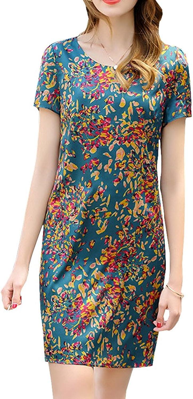 Dissa S9956 Women Vintage Short Sleeve KneeLong Cocktail Plus Size Silk Summer Dress