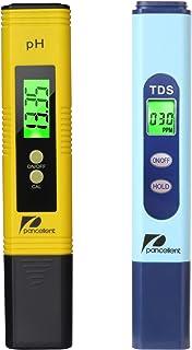 Pancellent Testeur de qualité de l'eau TDS PH 2 en 1 Set 0-9990 PPM Plage de Mesure 1 PPM Résolution 2% Précision de Lectu...