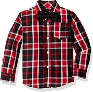 French Toast Boys' Long Sleeve Woven Poplin Roll Up Shirt with Bow Tie