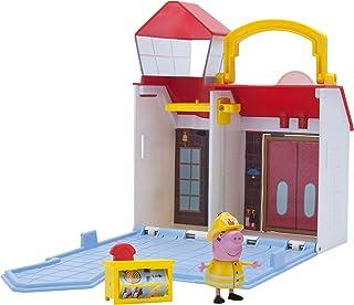 Jazwares 96586 Peppa Pig kleine vuurwax, openklapbare speelset met handgreep, speelhuis met 1 Peppa figuur en accessoires ...
