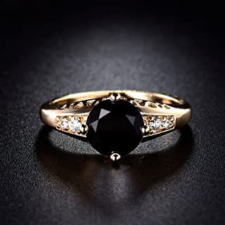 Victoria Jewelry Awesome 18K Gold Filled Black Onyx Solitaire with Accent Ring for Women Sz5-Sz9 (9)