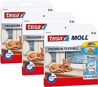 tesamoll Premium Flexible - Selbstklebende Silikondichtung zum Isolieren von Spalten an Fenstern und Türen - Transparent - 6 m x 9 mm x 7 mm 3er Pack