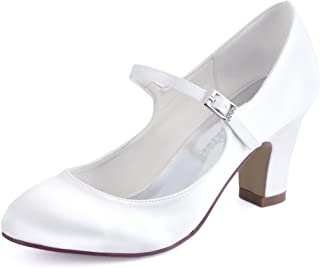 Women Pumps Closed Toe Block Heel Buckle Satin Bridal Wedding Shoes
