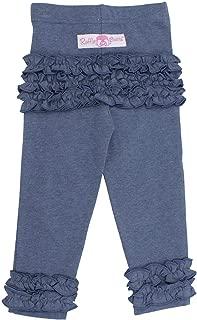RuffleButts Baby/Toddler Girls Soft Knit Ankle Length Ruffle Leggings