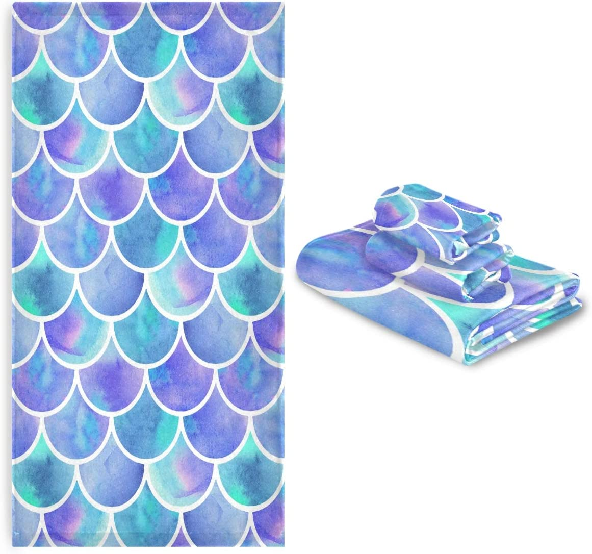 Vdsrup Mermaid Scales Towels Set Clearance SALE! Limited time! of Fish 3 Magic Towe Scale OFFicial store Hand