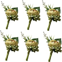 6 Pieces/lot Groom Boutonniere Man Buttonholes Wedding Flowers Party Decoration (Lime Green)