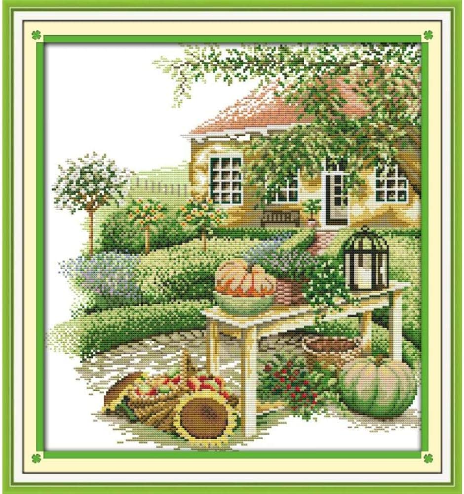 Stamped Cross Stitch Kits Green Be super welcome Land pre-Print Landscape Precise Limited price sale