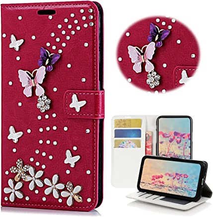 STENES Samsung Galaxy S8 Plus Case - Stylish - 3D Handmade Bling Crystal S-Link Butterfly Floral Wallet Credit Card Slots Fold Media Stand Leather Cover Case - Red