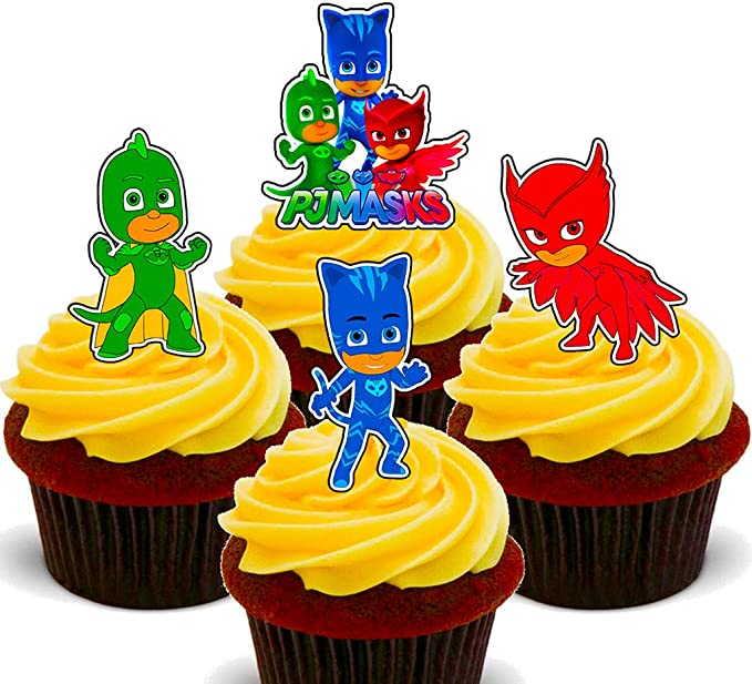 Cobertura de oblea comestible para cupcakes, con forma de personajes de PJ Masks, Pack de 24