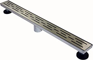 Novalinea ZA Linear Shower Drain (60 Inch BRICK Pattern) Sleek and Modern Brushed Stainless Steel, with Hair Strainer, Leveling Feet and Threaded Adapter