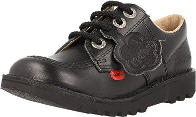 Kickers Unisex Kid's Kick Lo Black Leather School Shoes
