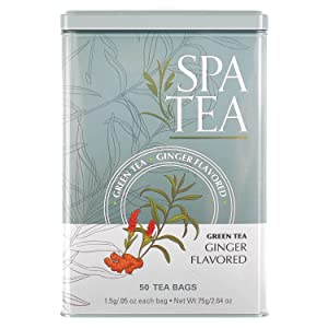 Spa Tea Herbal All Natural Ginger Green Tea Specialty Flavor 50 Sachet Bags In A Reusable Tin Can Bleach Free With No Staples Strings or Tags Antioxidant Caffeinated Bulk (50-Pack)