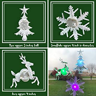 Holiday LED Window Decorations - Assorted Set of 3 - Reindeer, Christmas Tree, Snowflake - LED Color Changing Lights - Battery Operated Christmas Decorations- Night Light Window Cling