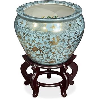 14 Plum Blossoms on Black Porcelain Pottery Fishbowl Jardiniere Oriental Furniture JC7D-1538-14-5852 Classic Japanese Chinese Asian Ceramic Planter
