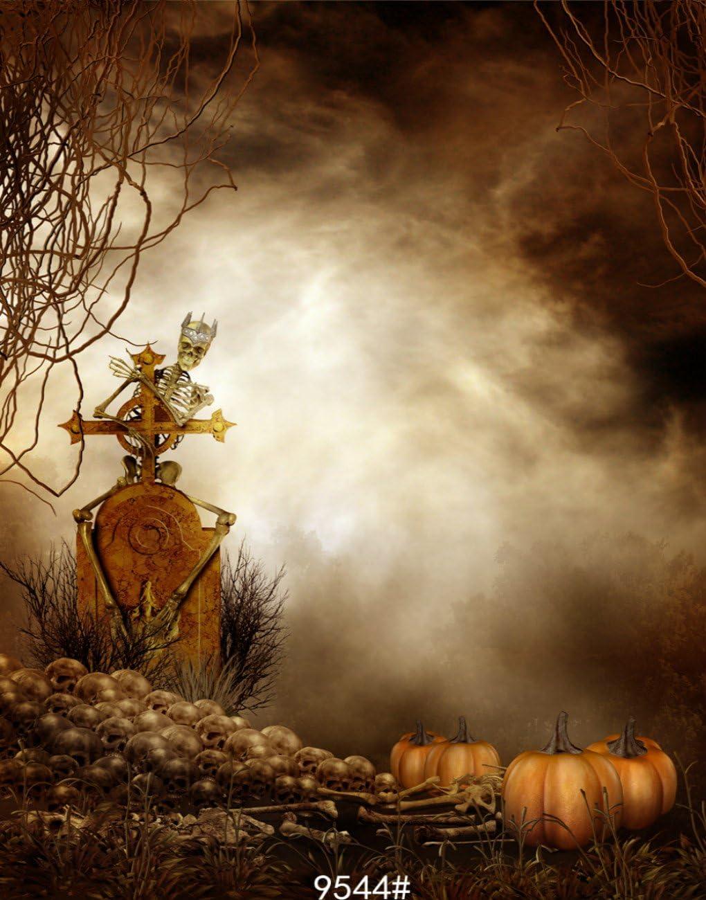 6X10FT-Horror Halloween Terror Skull Carnival Party Photography Backdrops Pumpkin Fog Studio Photo Background