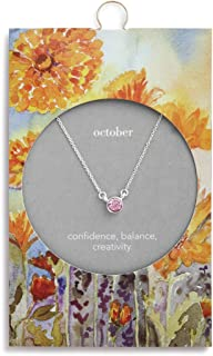 Silver Round Women's Austrian Crystal Silver-Plated Simply Birthstone Necklace
