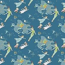 Disney Peter Pan Neverland Nursery Fabric - Kids Cotton Craft Fabric - Sold by The Metre, Half-Metre and Fat Quarter Baby Nursery Decor (Half Metre)