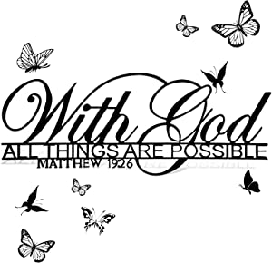 with God All Things are Possible Metal Sign Scripture Wall Art Bible Verses Wall Decor Black Christian Inspirational Word Wall Hanging Decor for Living Room Home Office Church, 15.3 x 5.9 Inch