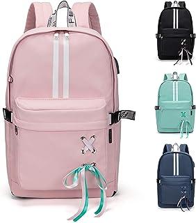 FEDUAN original Campus Rucksack mit Laptopfach für 15,6 Zoll USB Ladeanschluss Damen Herren Schulrucksack Mädchen Teenager Jungen Schultasche Schule Uni Arbeit Business Backpack M4 rosa pink