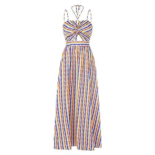 e8f18490850 Ferbia Womens Striped Rainbow Spaghetti Strap Backless Tie Knot Party Maxi  Dress