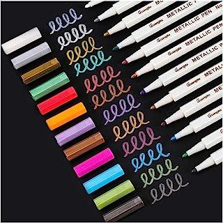 Sunshilor Metallic Markers Fine Point Metallic Marker Pens for Black Paper, Art Rock Painting, Easter Egg, Card Making, Me...