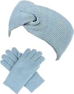 5892bfe106c94 BYOS Winter Solid Toasty Warm Fleece Lined Knit Gloves   Headband 2 PCs Set
