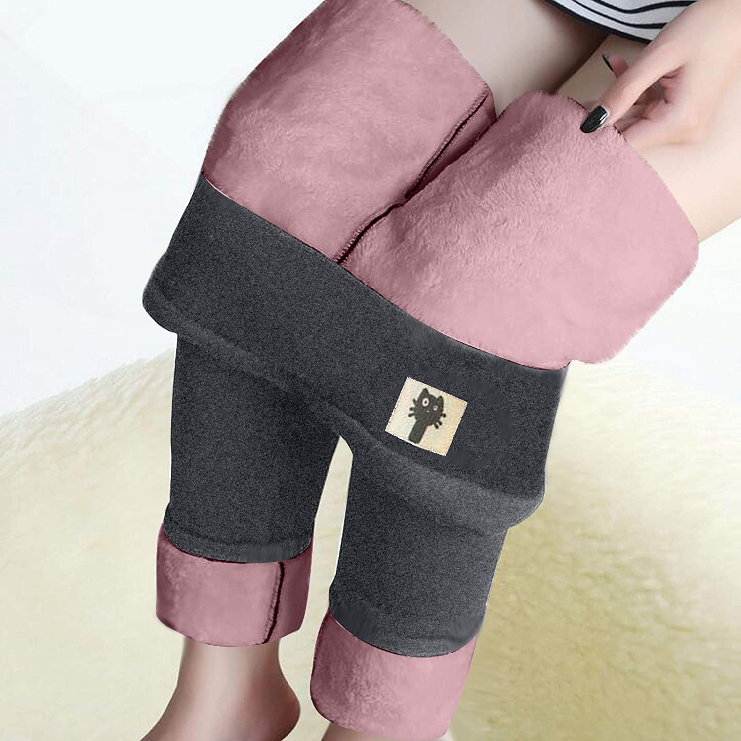 Thatso Women Winter Warm Fleece Lined Leggings High Waisted Thick Thermal Cashmere Tights Cute Cat Print Comfy Skinny Pants