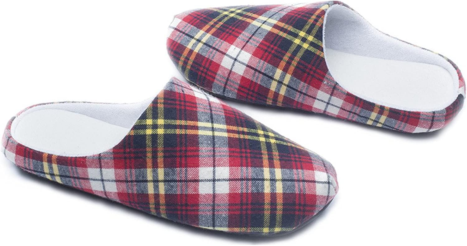 Ofoot Womens Mens Plaid Arch Support House Slippers,Cozy Furry Lining Memory Foam,Anti-Skid Flats(10-11 B(M) US, Red)
