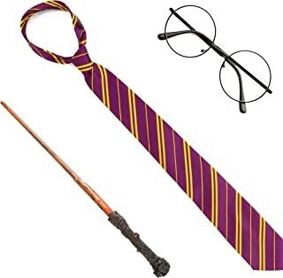 Skeleteen Wizard Costume Accessories Set - Nerd Circle Glasses, Red and Gold Tie and a Magic Wand Accessory Set for Kids and Adults
