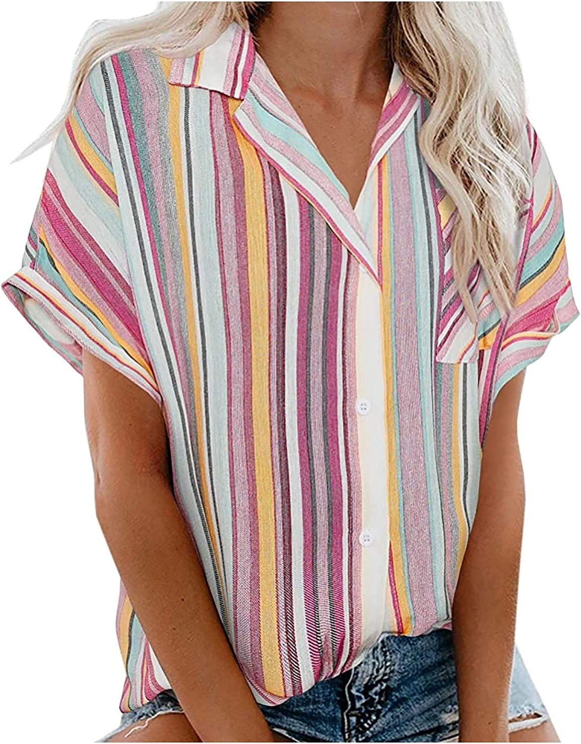 Forwelly Button Down Shirt for Women Trendy Stripe Print V Neck Tunic Top Summer Short Sleeve T Shirt Blouse