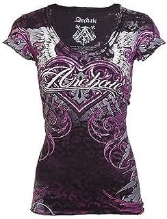 Affliction Archaic Women T-Shirt Unwanted Love Tattoo Black Biker UFC Sinful