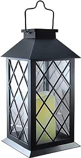 Lumabase, Black 94001 Tudor with LED Candle Solar Powered Lantern