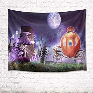 HVEST Pumpkin Carriage Tapestry Purple Mushroom Fairy Moon Night Sky Halloween Wall Hanging Cinderella Costume Party Grass Tapestry Background Mysterious Moon Wall Decor for Kids Room 60Wx40H inches