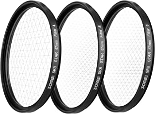 ZoMei 72MM +4 Points Star Filter + 6 Points Star Filter + 8 Points Star Filter for Canon Nikon