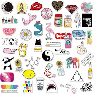 Cute Water Bottle Sticker,Aesthetic Laptop Sticker,43 PCS Waterproof Girl Vinyl Decal Sticker for Phone,Travel,Computer,Hydro Flasks,Car,Bicycles,Luggage …