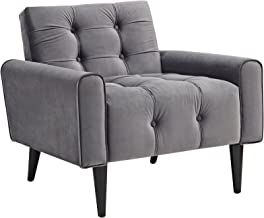 Modway EEI-2326-GRY Delve Luxury Button Tufted Upholstered Velvet Armchair Gray