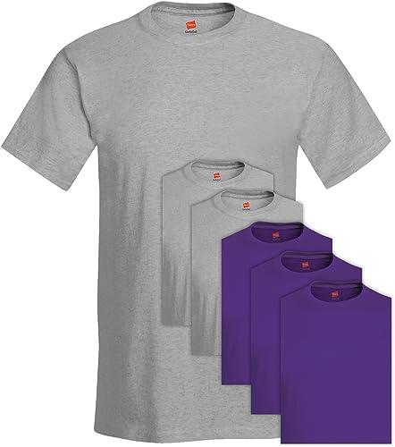 Hanes 5280 Comfortsoft Hommes's Pack 6 T-Shirt Ras du Cou Medium 3 lumière Steel + 3 violet