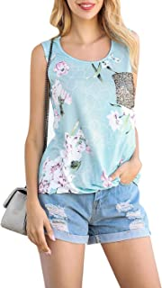 Gnpolo Womens Tank Tops Sequin Pocket Twist Knot Summer Casual Blouse Sleeveless Tee Shirts