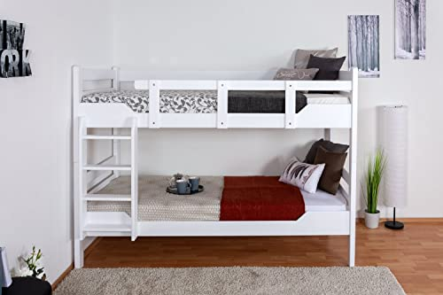 Stückbett für Erwachsene Easy Premium Line  K12 n, Kopf- und Fu il gerade, Buche Vollholz massiv Weiß- 90 x 200cm   (B x L), teilbar