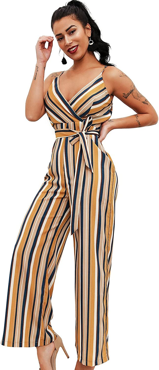 Glamaker Women's Sexy V Neck Striped Long Strap Jumpsuit Rompers with Belts