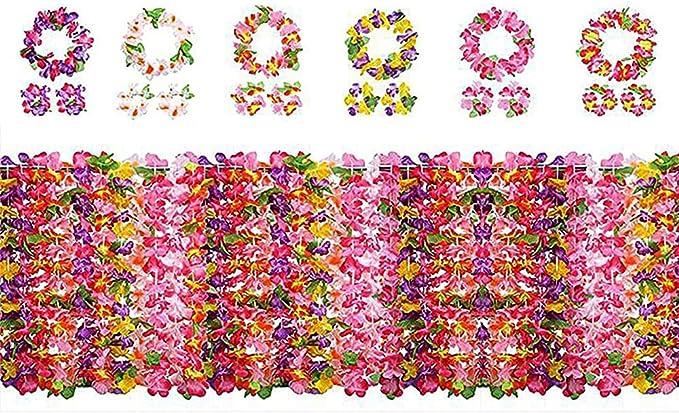 1089 opinioni per Yojoloin 24 Pezzi Hawaiian Leis Luau Fiori con 12 bracciali 6 Fasce e 6 collane