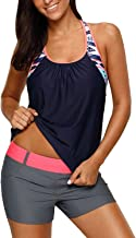 Dearlove Women's Blouson Floral T-Back Push Up Tankini Top S-XXXL