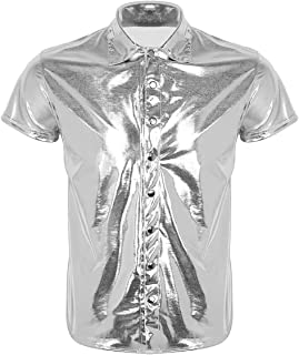Stylish Male Men Reflective Wet Look Short Sleeve Patent Leather Latin Dance Shirt Nightclub Undershirt Party Stage Performance Costumes (Color : Silver, Size : L)