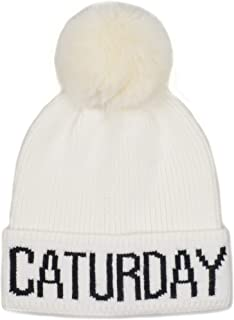 Hatphile Cat Lover Stretchy Caturday Faux Fur Pompom Knit Beanie Skully Toque