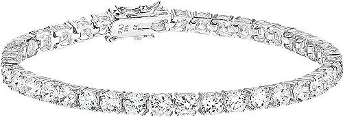 Amazon Essentials Plated Sterling Silver Round Cut Cubic Zirconia Tennis Bracelet