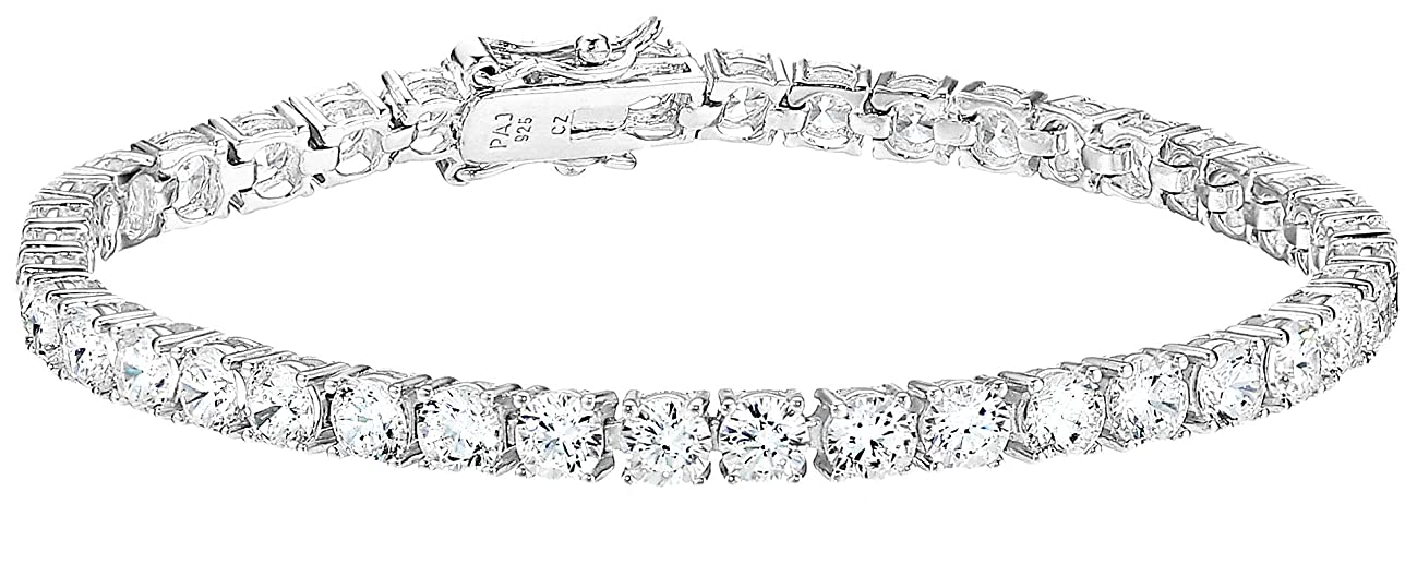 Amazon Essentials Plated Sterling Silver Round Cut Cubic Zirconia Tennis Bracelet