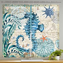 JAWO Nautical Ocean Kitchen Curtain,Seahorse and Flower on Travel Map Curtains Kitchen Cafe Sheer Window Curtain Set Drapes Panel Pairs 55x39 inches