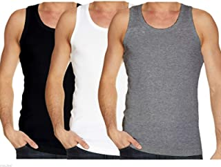Bahob® New Mens Vest Multi Pack Lot Basic Regular Fitted Cotton Tank Top Athletic Soft Assorted Pack of 3