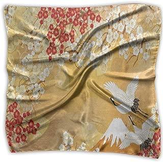 Square Scarf Japanese Style Crane Cherry Blossom Handkerchief Unisex Bandanas Tie For Man